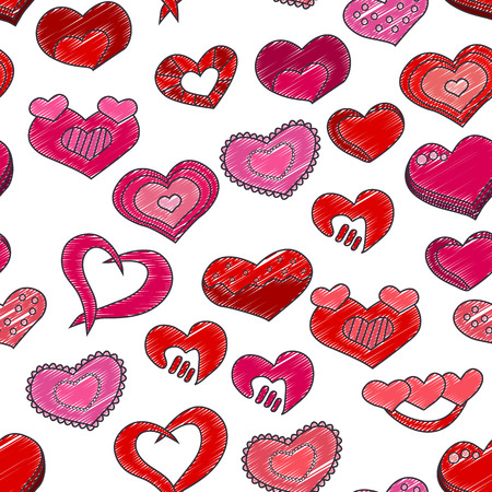 Valentines Day seamless pattern. Red and pink hearts Vector illustration.