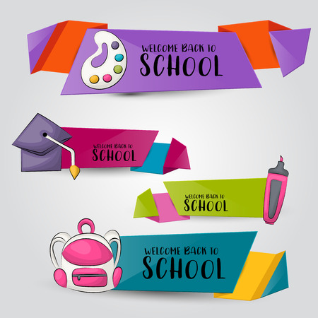 Back to school concept. Horizontal banner template set.  Modern hand drawn doodle design. Vector illustrator.