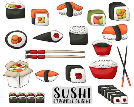 Sushi and rolls set. Japanese cuisine concept. Icons and objects for asian restaurant menu or advertisement. Vector illustration isolated on white background.