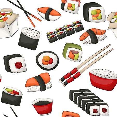 Sushi rolls seamless pattern. Asian food restaurant menu repeat background concept. Vector illustration. Stock Vector - 112002381