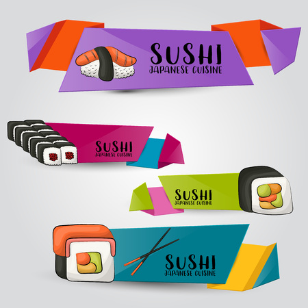 Sushi bar and asian restaurant horizontal banner set. Japanese food advertisement design template.  Cute labels or stickers in a catrtoon style. Vector illustration.