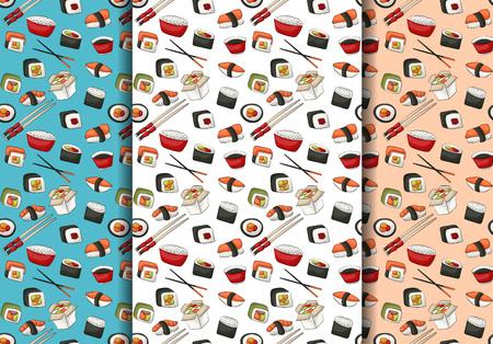 Sushi rolls seamless pattern set. Asian food restaurant menu repeat background concept. Vector illustration.