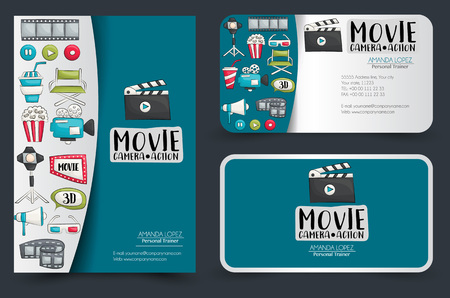 Movie cinema corporate identity design set. Flyer and business cards. Vector illustrator.