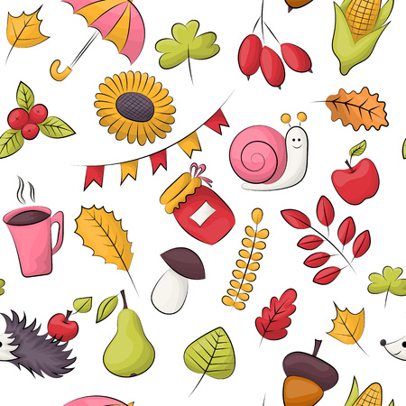 Autumn season theme. Seamless pattern. Repeating background for textile, wrapping, wallpaper. Vector illustration.