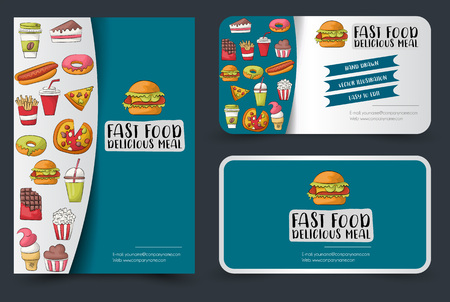 Fast food flyer and banner or business card set. Poster template for a magazine advertisement page, menu, cover. Vector illustration.