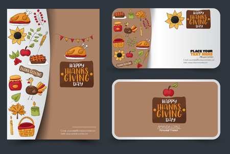 Thanksgiving flyer and banner or business card set. Poster template for a party invitation. Calligraphic inscription. Vector illustration. Archivio Fotografico - 112002409