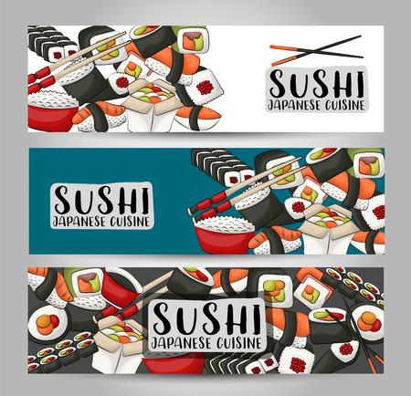 Sushi bar and asian restaurant horizontal banner set. Japanese food advertisement design template. vector illustration.