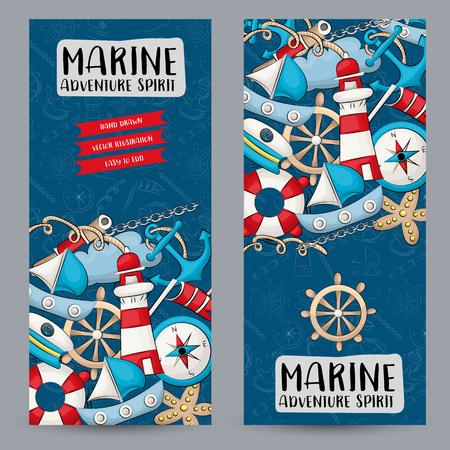 Concetto di viaggio nautico marino. Insieme di modelli di banner verticale. Design moderno doodle disegnato a mano. Illustratore di vettore. Vettoriali