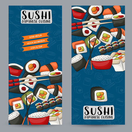Sushi bar and asian restaurant vertical banner set. Japanese food advertisement design template. vector illustration.