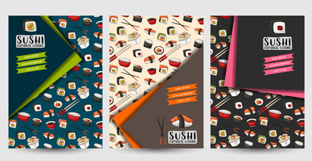 A set of flyers for sushi bar or restaurant. Asian food brochires or menu cover. Vector illustration. 写真素材 - 112002415