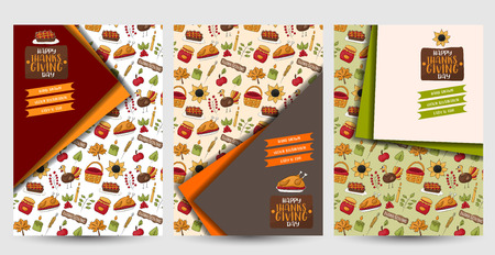 Thanksgiving flyer set. Poster template for a party invitation. Calligraphic inscription text. Vector illustration.