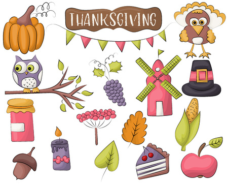 Thanksgiving holiday icon set. Autumn harvest design concept. Vector illustration. Illusztráció