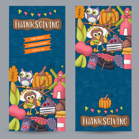 A set of Thanksgiving vertical banners. Happy holidays concept. Autumn harvest design template for advertisement, sale, invitation to a party. Vector illustration.