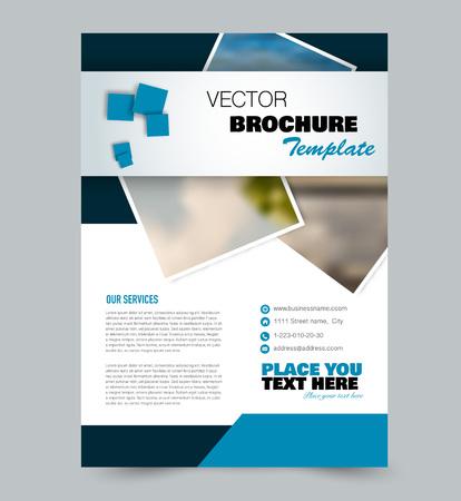 Modello di volantino. Design per un'azienda, istruzione, brochure pubblicitaria, poster o opuscolo. Illustrazione vettoriale. Colore blu.