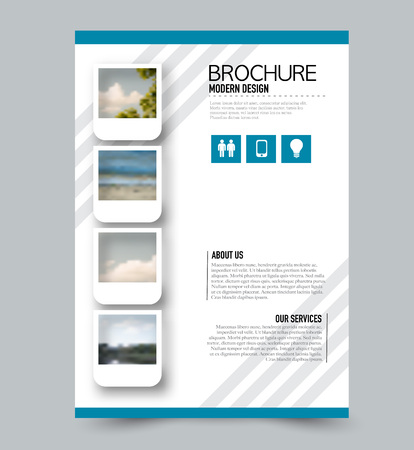 Blue flyer design template with built in images. Brochure for business, education, presentation, advertisement. Corporate identity concept. Editable vector illustration.