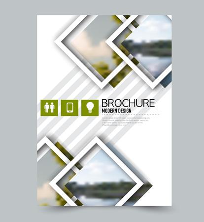 Flyer design template. Brochure layout. Green color. Vector illustration.