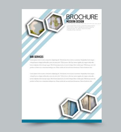 Plantilla de volante. Diseño de folletos. Portada del informe anual o diseño de póster impreso. Color azul. Ilustración vectorial.