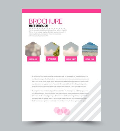 Flyer design template. Brochure layout. Pink color. Vector illustration.