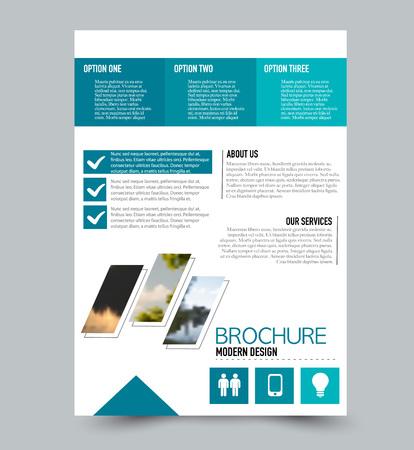 Flyer design template. Brochure layout. Blue color. Vector illustration.