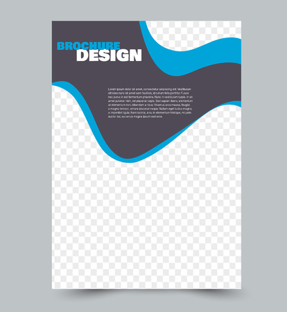 Plantilla de diseño de volante. Diseño de folletos. Color azul. Ilustración vectorial.