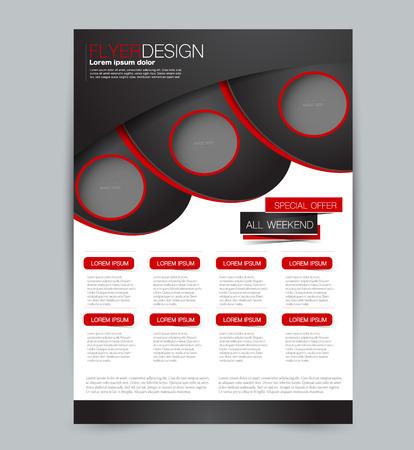 Flyer template. Design for a business, education, advertisement brochure, poster or pamphlet. Vector illustration. Black and red color. Vector Illustration