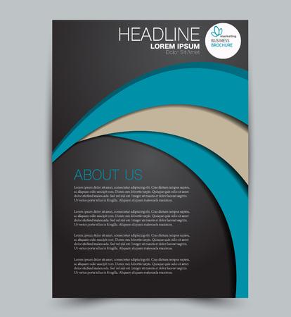 Modello di volantino. Design per un'azienda, istruzione, brochure pubblicitaria, poster o opuscolo. Illustrazione vettoriale. Colore nero e blu.