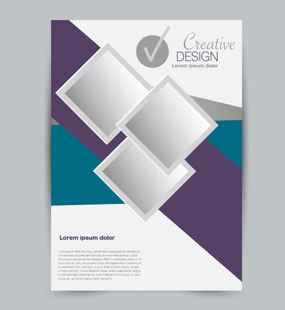 Modello di volantino. Design per un'azienda, istruzione, brochure pubblicitaria, poster o opuscolo. Illustrazione vettoriale. Colore blu e viola.