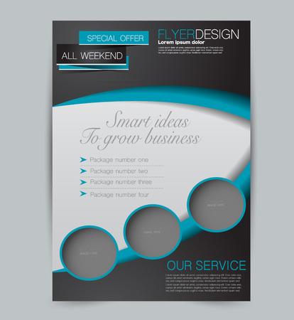 Szablon ulotki. Projekt dla biznesu, edukacji, broszury reklamowej, plakatu lub broszury. Ilustracja wektorowa. Kolor czarno-niebieski.