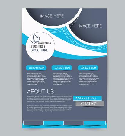 Szablon ulotki. Projekt dla biznesu, edukacji, broszury reklamowej, plakatu lub broszury. Ilustracja wektorowa. Niebieski kolor.