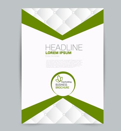 Flyer template. Design for a business, education, advertisement brochure, poster or pamphlet. Vector illustration. Green color.