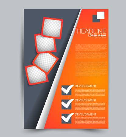 Flyer template. Design for a business, education, advertisement brochure, poster or pamphlet. Vector illustration.  Orange and grey color. Stock Vector - 114215323