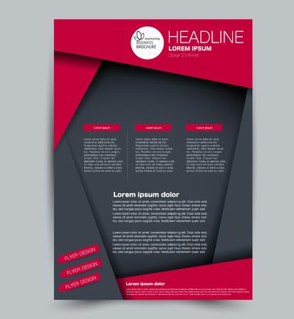 Modello di volantino. Design per un'azienda, istruzione, brochure pubblicitaria, poster o opuscolo. Illustrazione vettoriale. Colore grigio e rosso.