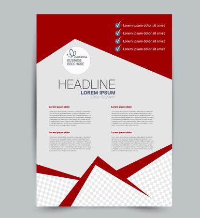 Modello di volantino. Design per un'azienda, istruzione, brochure pubblicitaria, poster o opuscolo. Illustrazione vettoriale. Colore rosso.