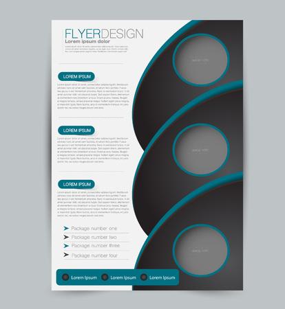 Flyer template. Design for a business, education, advertisement brochure, poster or pamphlet. Vector illustration. Black and blue color.