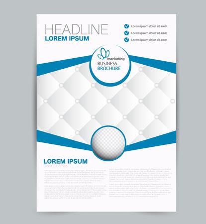 Flyer template. Design for a business, education, advertisement brochure, poster or pamphlet. Vector illustration. Blue color.
