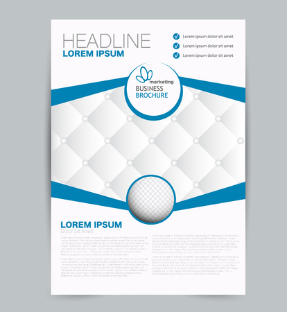 Flyer-Vorlage. Design für ein Geschäft, eine Ausbildung, eine Werbebroschüre, ein Poster oder eine Broschüre. Vektor-Illustration. Blaue Farbe.