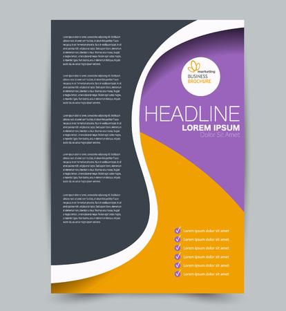 Flyer template. Design for a business, education, advertisement brochure, poster or pamphlet. Vector illustration. Purple and orange color. Vector Illustratie
