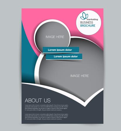 Plantilla de volante. Diseño para negocios, educación, folletos publicitarios, carteles o folletos. Ilustración vectorial. Color azul y rosa. Ilustración de vector