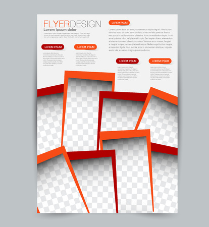 Flyer template. Design for a business, education, advertisement brochure, poster or pamphlet. Vector illustration. Red and orange color.