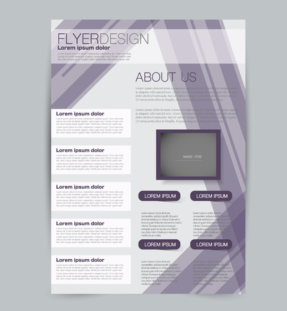 Flyer template. Design for a business, education, advertisement brochure, poster or pamphlet. Vector illustration. Purple color.