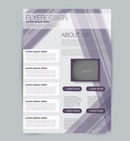 Szablon ulotki. Projekt dla biznesu, edukacji, broszury reklamowej, plakatu lub broszury. Ilustracja wektorowa. Kolor purpurowy.