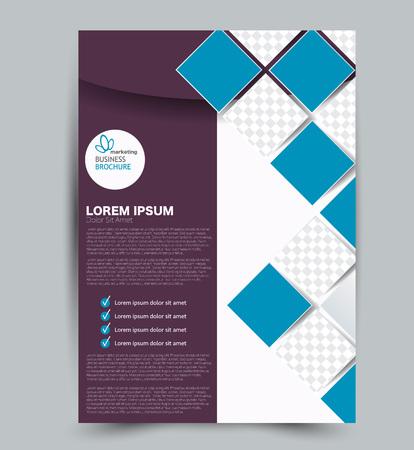 Szablon ulotki. Projekt dla biznesu, edukacji, broszury reklamowej, plakatu lub broszury. Ilustracja wektorowa. Kolor niebieski i fioletowy.
