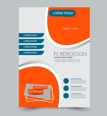 Blue and orange business flyer. a4 pribtable poster. Vector illustration.