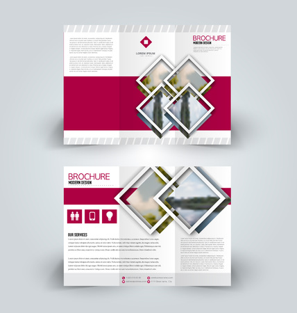 Brochure design. Creative tri-fold template. Abstract geometric background leaflet layout. Pink color vector illustration.