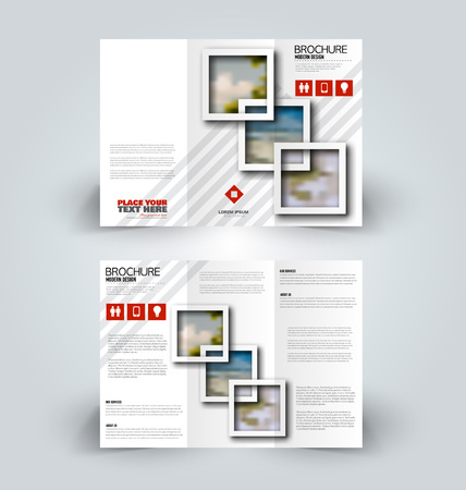 Brochure design. Creative tri-fold template. Abstract geometric background leaflet layout. Red color vector illustration.