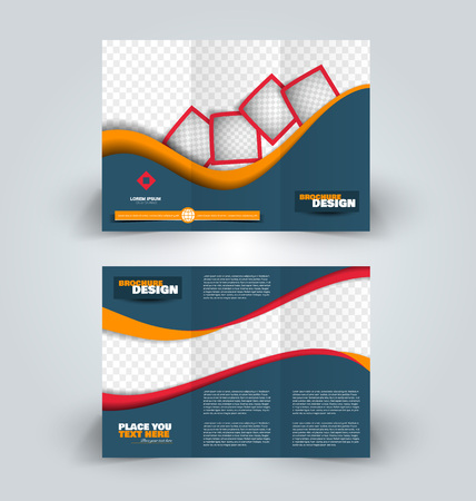 Brochure template. Business trifold flyer.  Creative design trend for professional corporate style. Vector illustration. Blue, red, and yellow color. Stock Illustratie