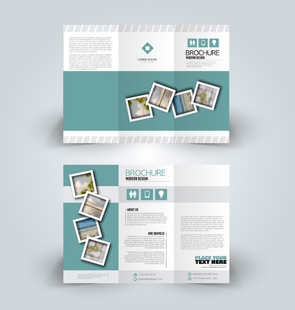 Brochure design. Creative tri-fold template. Abstract geometric background leaflet layout. Green color vector illustration.