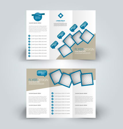 Brochure template. Business trifold flyer.  Creative design trend for professional corporate style. Vector illustration. Blue color. Stock Illustratie
