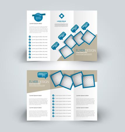 Plantilla de folleto Folleto tríptico de negocios. Tendencia de diseño creativo para un estilo corporativo profesional. Ilustración vectorial Color azul.