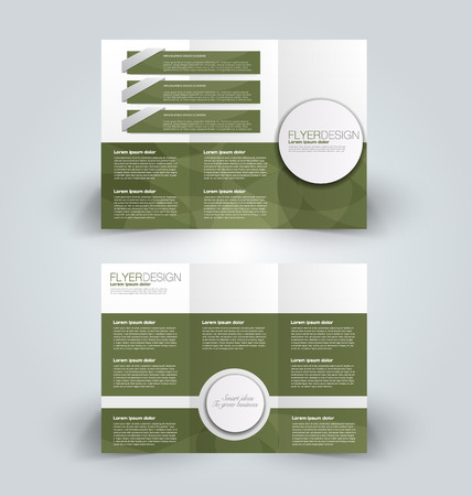 Brochure template. Business trifold flyer.  Creative design trend for professional corporate style. Vector illustration. Green color.